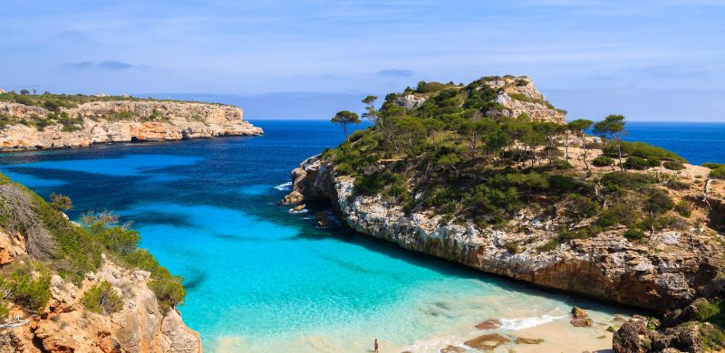 View of Cala des Moro beach and its azure blue water